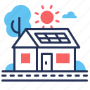 house, road, solar panel, sun icon