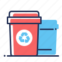 ecology, recycling, trash cans, waste sorting icon