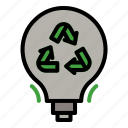 light, bulb, eco, ecology, recycle, recycling icon