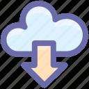 cloud and download arrow, cloud computing, cloud download, cloud downloading, cloud network icon