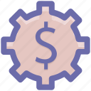 dollar, gear, money, online, rotate, work icon