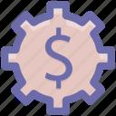 dollar, gear, money, online, rotate, work