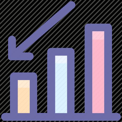 arrow, bar, business, chart, down, growth icon