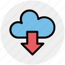 cloud and download arrow, cloud computing, cloud download, cloud downloading, cloud network icon