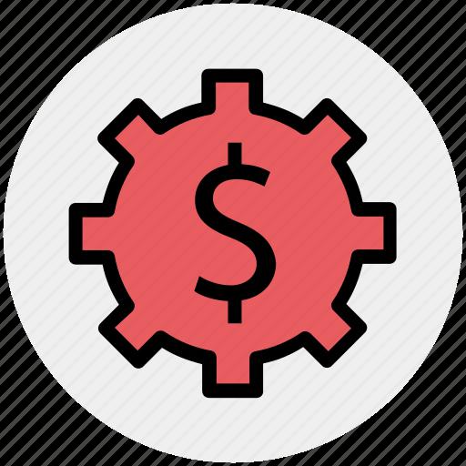 dollar, gear, money, online, rotate, work icon
