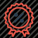 badge, finance, medal, percentage, profit, ratio, winner icon
