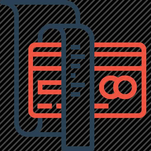 bill, card, credit, debit, details, income, reciept icon