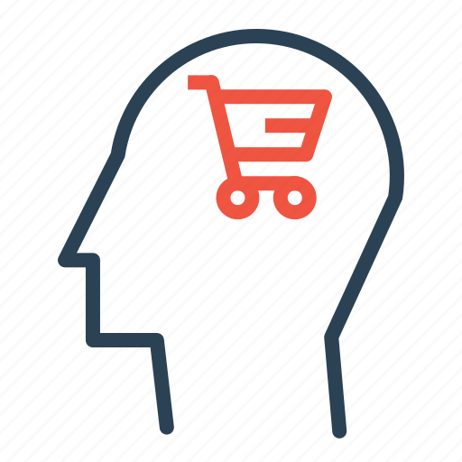 brain, cart, human, mind, sale, shopping, user icon