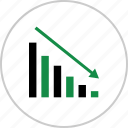 arrow, business, down, low, results icon