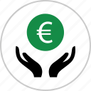 euro, growth, hands, interest, money, sign, wealth icon