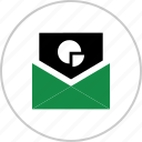 chart, email, envelope, graph, mail, pie, report icon