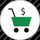 cart, dollar, money, pay, shop, shopping, sign icon