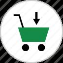 add, arrow, cart, down, shop, shopping icon