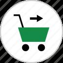 arrow, cart, go, next, online, shop, shopping icon