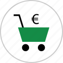 cart, euro, money, shop, shopping, sign, wealth icon
