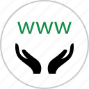 hands, internet, online, web, website, www icon