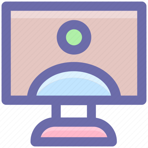 desktop, monitor, pc, screen, user, video chat discus icon
