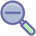 glass, magnifier, magnifying glass, zoom out icon