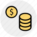 coin, coins, currency, dollar, gambling chips, money icon