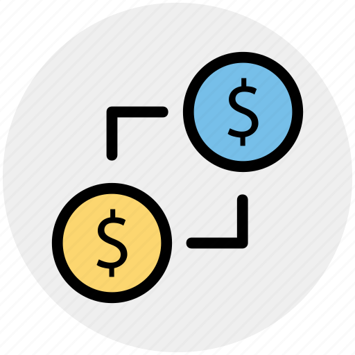 coin, connection, dollar, fund, money, network icon
