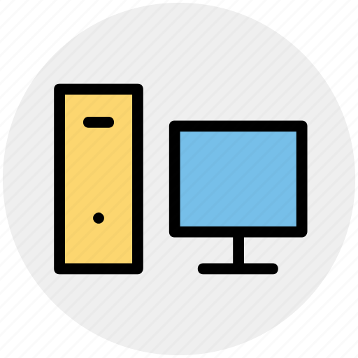 computer, computer system, cpu, cpu and monitor, desktop computer, personal computer icon