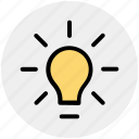 bulb, idea, light, light bulb, power icon