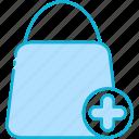 add, shopping, ecommerce, shop, bag, cart