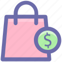 bag, dollar, dollar sign, hand bag, shopping, shopping bag icon