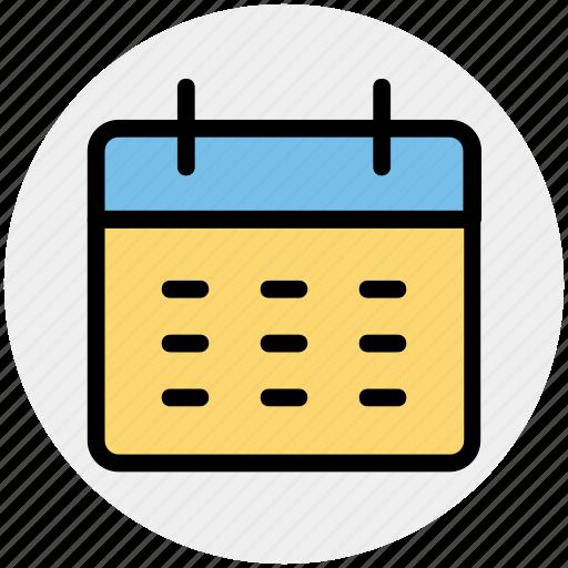 appointment, calendar, deadline, reminder, timeframe, yearbook icon