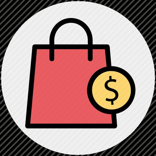 bag, dollar, dollar sign, hand bag, shopping, shopping bag icon
