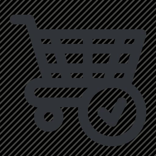 buy, cart, check, ecommerce, shopping, verified icon
