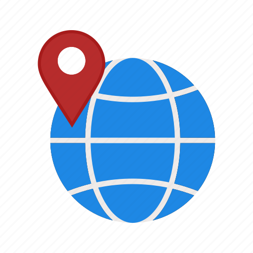 globe, pin, world icon
