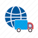 delivery, global, package, shipping, transportation, vehicle icon