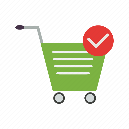 cart, online shopping, trolley, verified cart icon