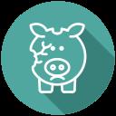 financial problem, bankrupt, coins, cash, broken piggy bank, no money, bankruptcy icon