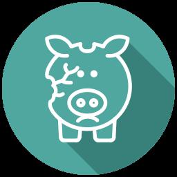 bankrupt, bankruptcy, broken piggy bank, cash, coins, financial problem, no money icon