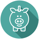 cash, coins, piggy bank, saving account, savings icon