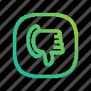 app, dislike, down, ecommerce, gradient, greenish, hand, lineart, modern, online, shop, thumb, thumbdown, website icon