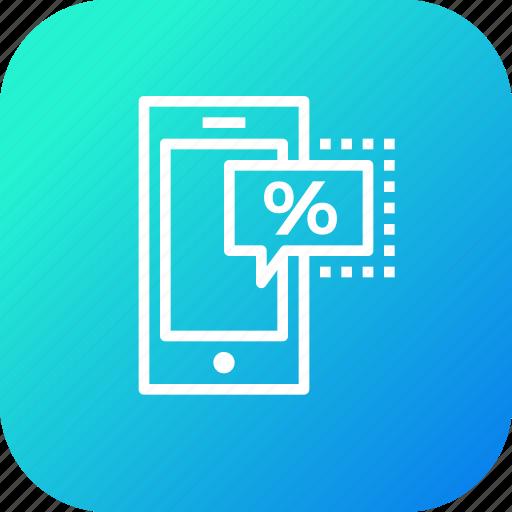 device, discount, ecommerce, finance, mobile, profit, sale icon