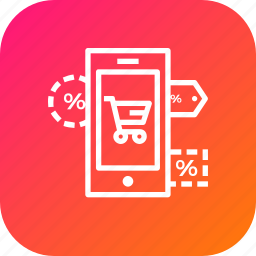 finance, label, mobile, offer, online, sale, store icon