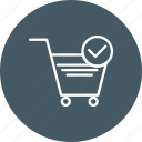 online shopping, trolley, verified cart items icon