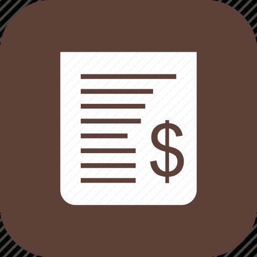 bill, billing, cash receipt, receipt icon
