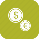 coin, coins, dollar, euro icon