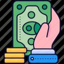 cash, dollar, hand, money, payment