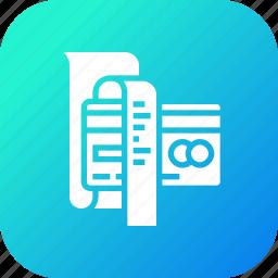 bill, card, credit, debit, details, less, reciept icon