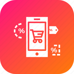 ecommerce, finance, label, mobile, offer, online, store icon