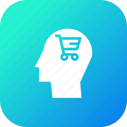brain, cart, discount, ecommerce, human, shopping, user icon