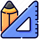 bukeicon, category, ecommerce, office, pencil, rule, stationary icon