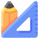 bukeicon, category, ecommerce, office, pencil, rule, stationary