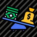 balance, banknote, deflicit, money, scale